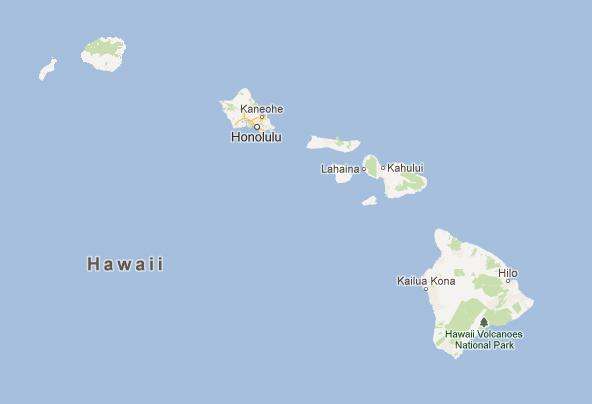 Карта Гавайев - 8 основных островов архипелага (на карте слева направо): Ниихау, Кауаи, Оаху, Молокаи, Ланаи, Кахоолавэ, Мауи