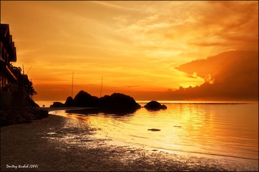 Оранжевый закат на Ко Панган