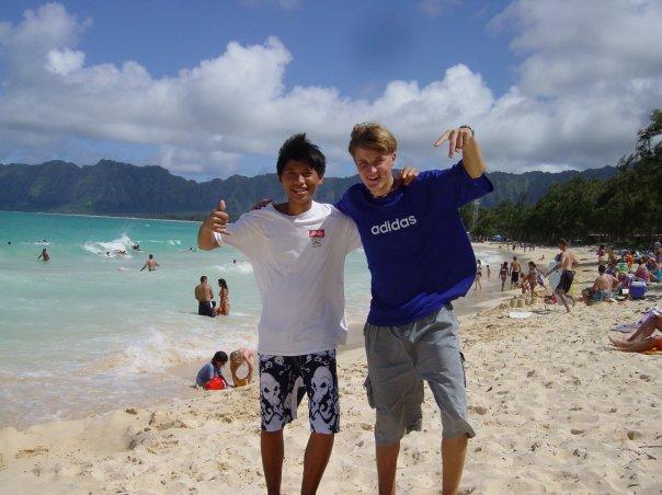 С вьетнамским другом на Каилуа Бич, Оаху