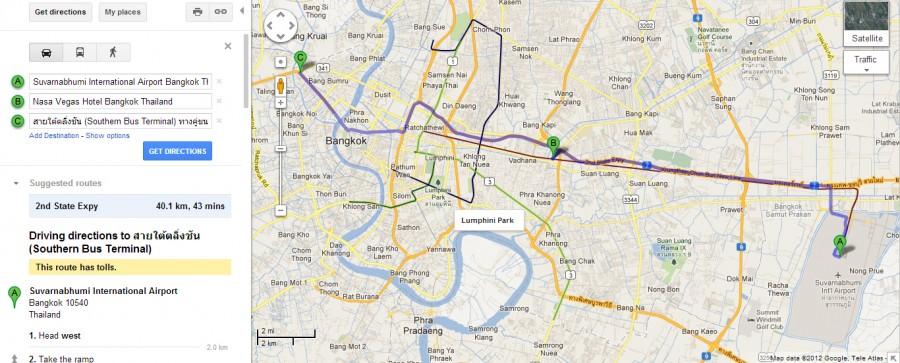 Карта нашего маршрута: аэропорт Suvarnabhumi - Nasa Vegas Hotel - Southern Bus Terminal (Южный автобусный терминал)