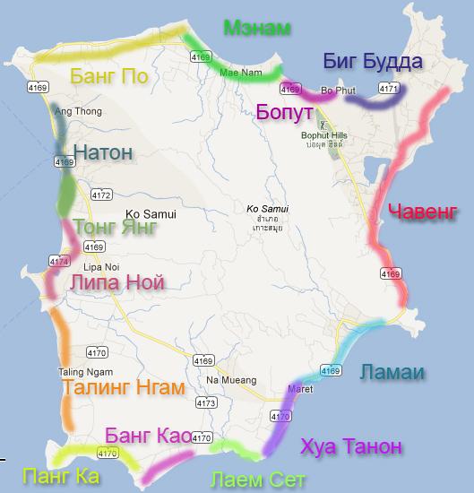 Карта Самуи - основные пляжи