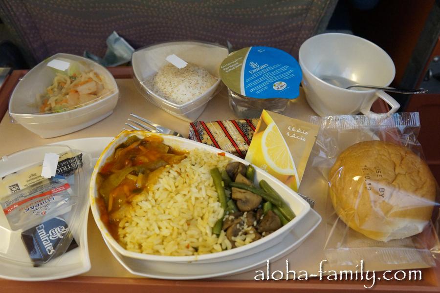 Кормят Emirates очень хорошо и вкусно. На фото: рис, рыба под китайским соусом, которая напоминает по вкусу курицу, салат, вкусный десерт и много еще чего.