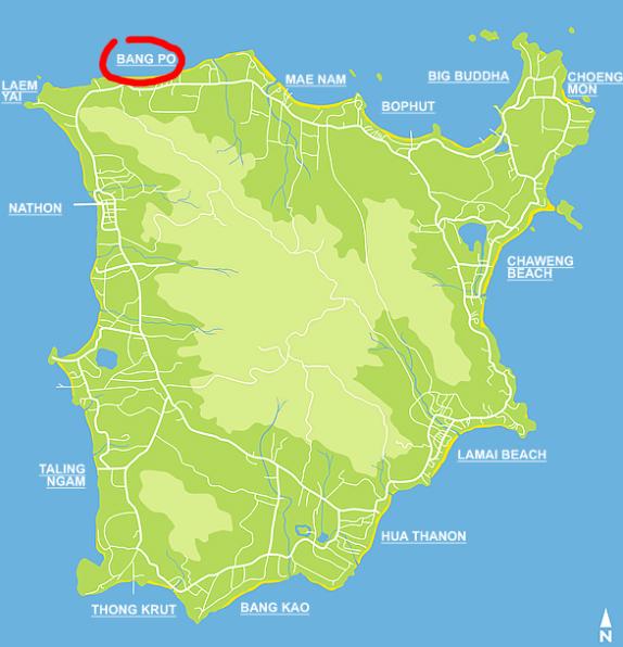 Банг По на карте Ко Самуи