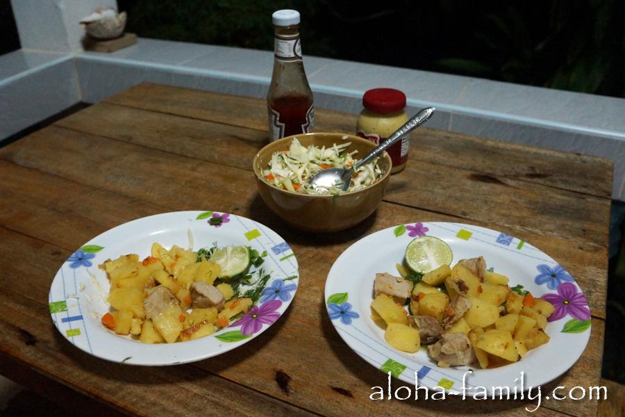 Картошечка, свининка, соус с лаймом