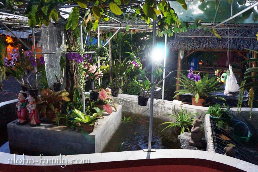 Lam Tong Resort - красивая композиция из цветов и воды во дворе отеля