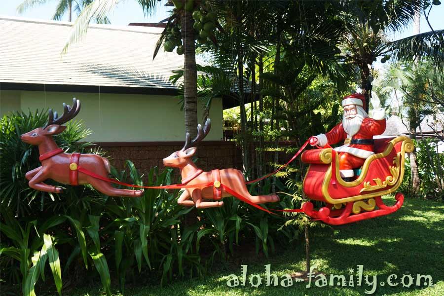 Дед Мороз и олени в упряжке - отель Мелати на Tong Son Bay