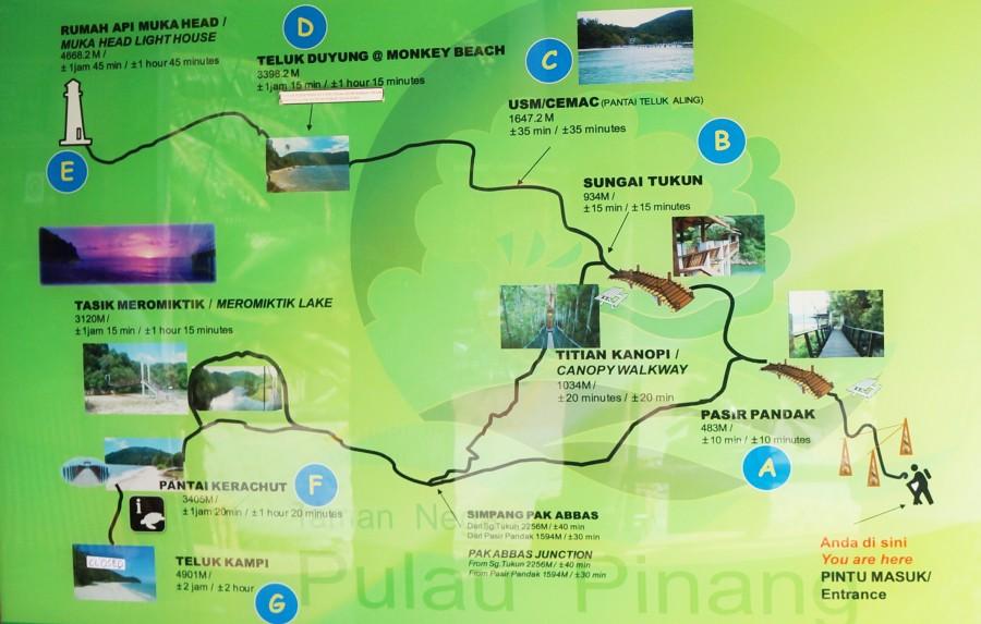 Карта Национального парка Пенанг