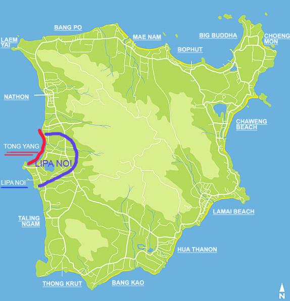 Карта Самуи - различия Tong Yang (Тонг Янг) и Lipa Noi (Липа Ной)