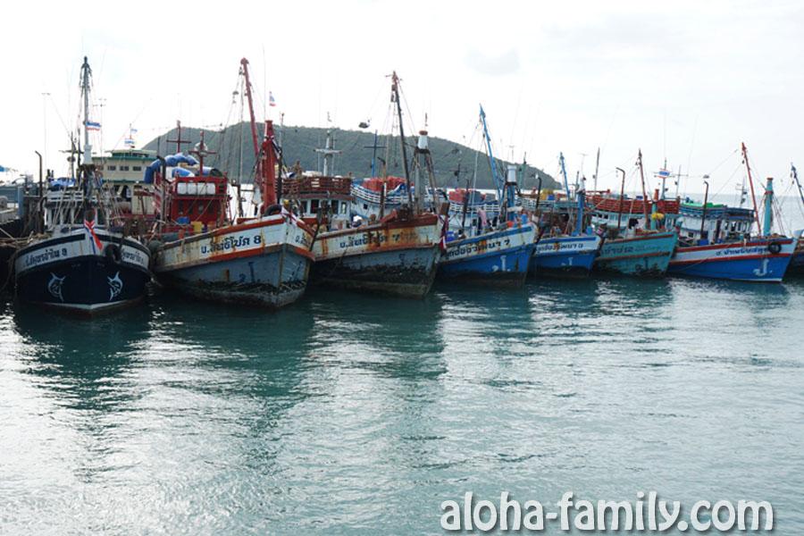 Лодки на причале острова Панган провожают нас на посадку))