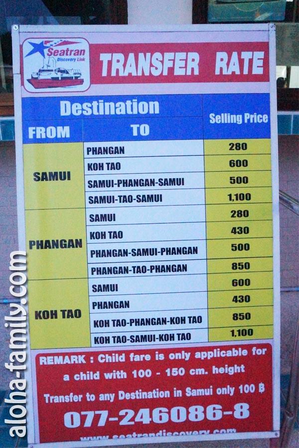 """""""Самуи - Панган"""" - цены на переправу компании Seatran - пирс Банг Рак (Bang Rak Pier) - февраль 2013"""