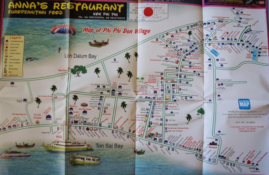 Карта Пхи-Пхи Дон - главный посёлок (хорошая детализация)