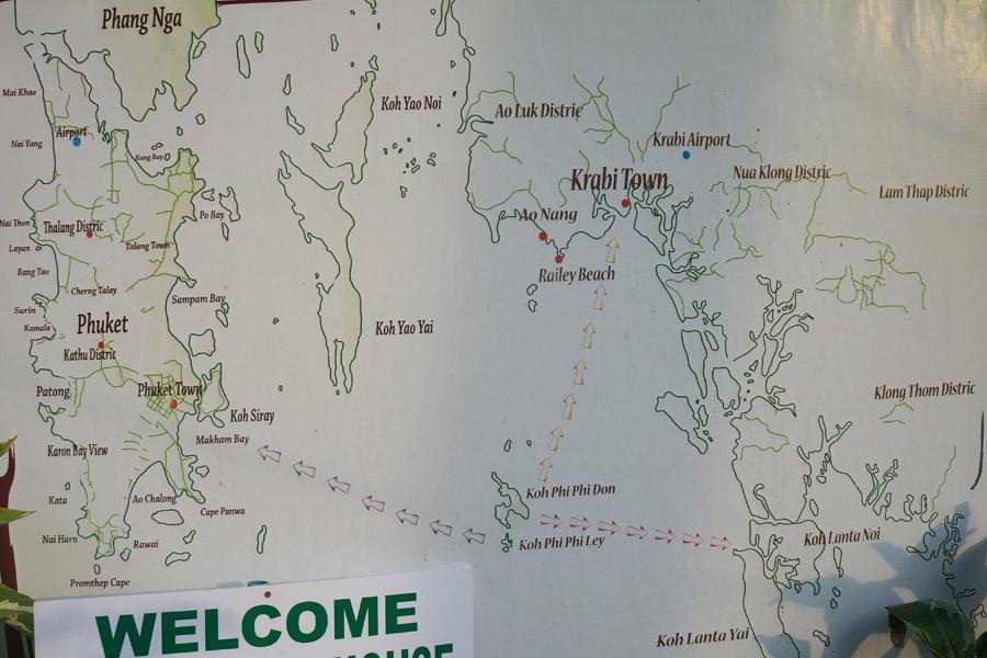 Карта Пхи-Пхи на карте провинции Краби с соседними провинциями Пханг Нга и Пхукет