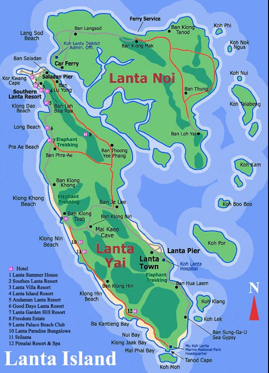 Ко Ланта - карта острова