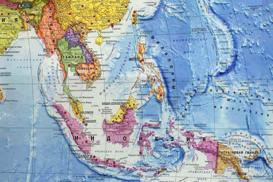 Карта 11 стран Юго-Восточной Азии