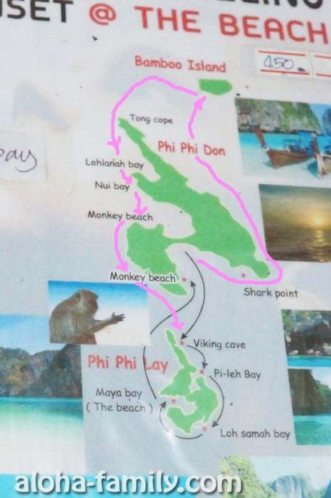 Карта популярных экскурсий вокруг островов Пхи-Пхи