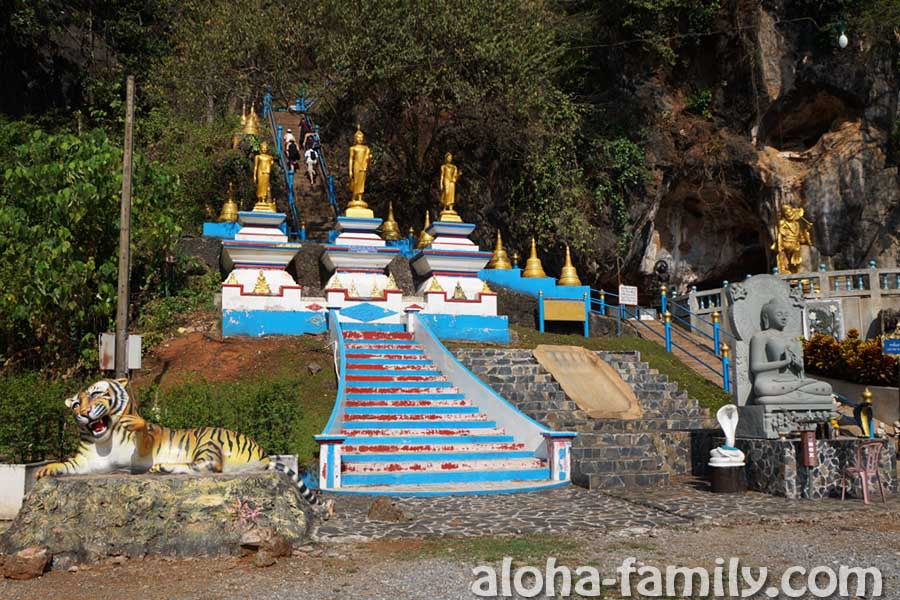 """Смеющийся тигр всех приглашает к началу подъема на священную гору возле храма """"Tiger Cave"""""""