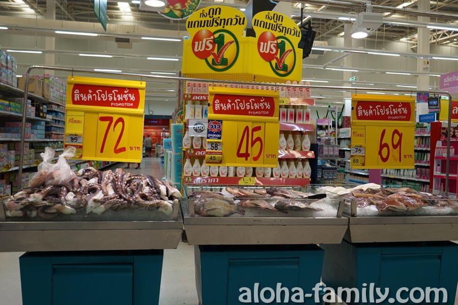Вкусный и супер-свежий гигантский кальмар в Таиланде по $2,5 за кило