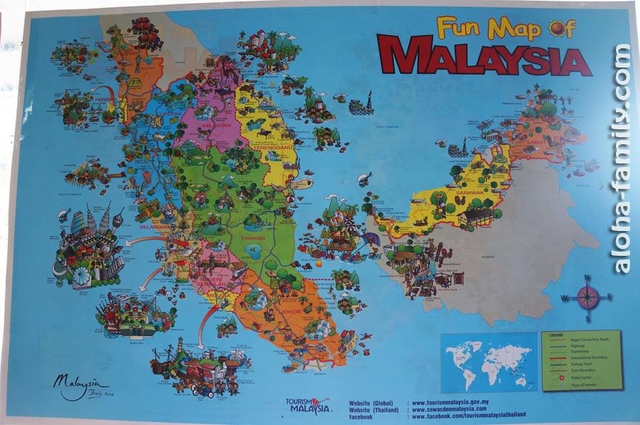 Весёлая карта Малайзии возле тайской границы