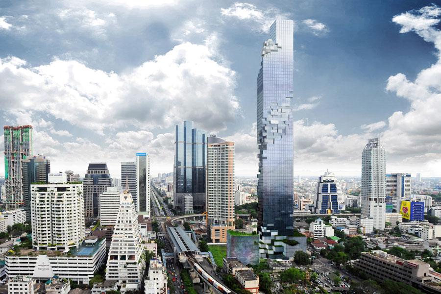 314-метровый небоскрёб MahaNakhon в Бангкоке (пока только строится)