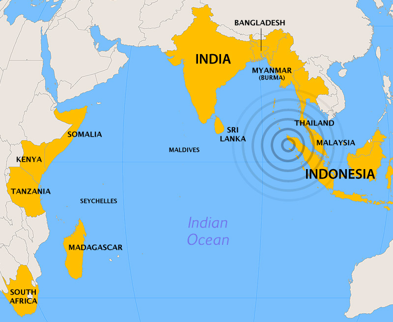 Землетрясение в Индийском океане 2004 (карта стран, пострадавших от цунами)