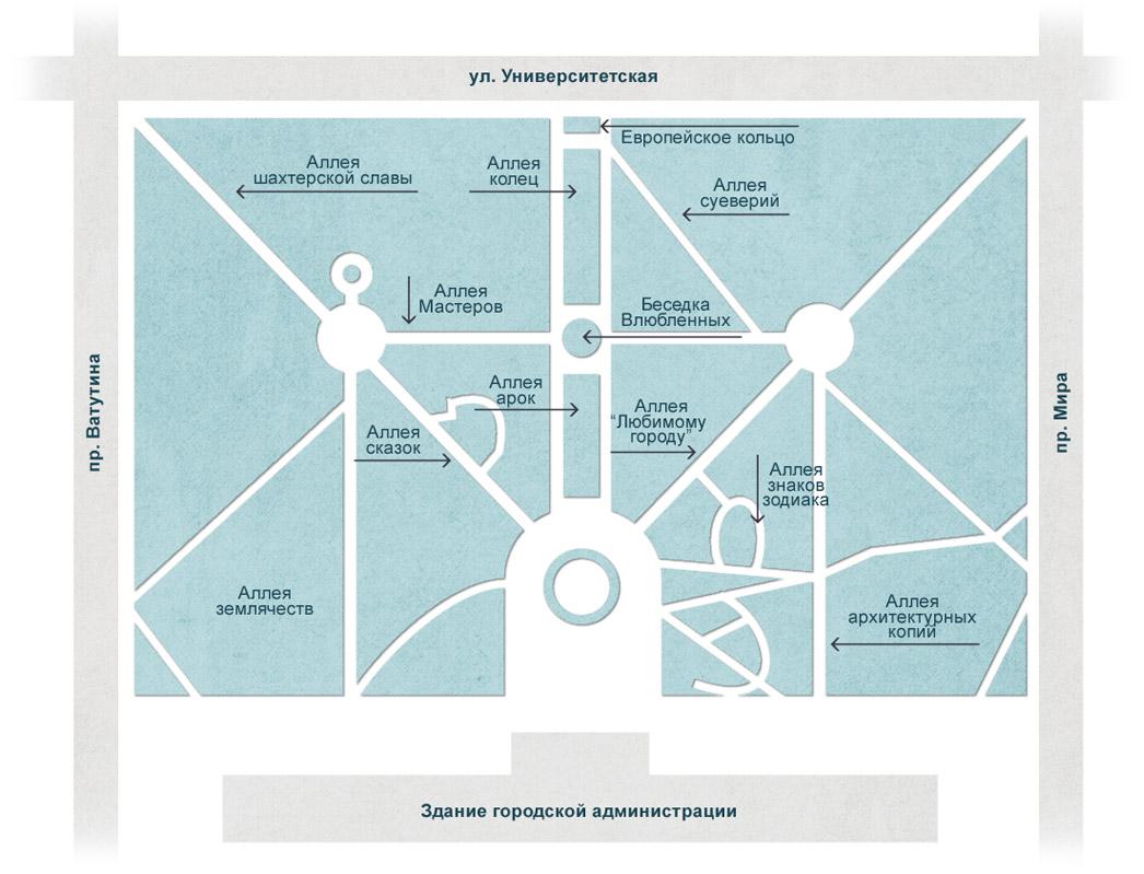 План парка кованых фигур в Донецке