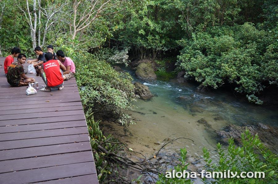 Тайские подростки пьют пиво на природе