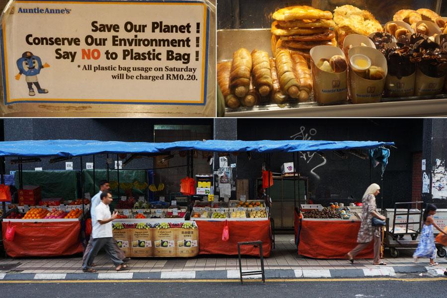 """Еда в KL и """"правильная"""" акция: пластиковые пакеты, разлагающиеся по 500 лет, по субботам стоят по 0,2RM, причем бумажные - бесплатно"""