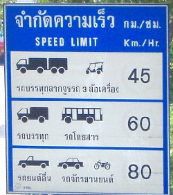Ограничение скорости в Таиланде (в черте города)