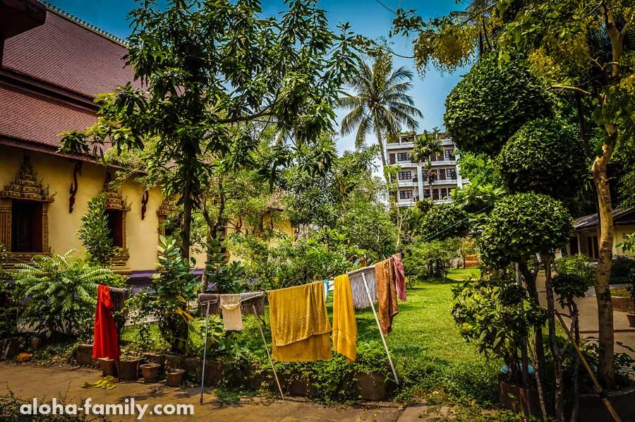 Монахи сушат одежду и швабры на территории очередного храма, где гулять никто не запрещает