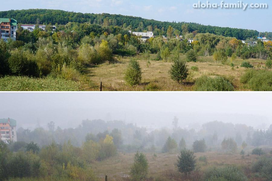 Вид из нашего окна в разную погоду