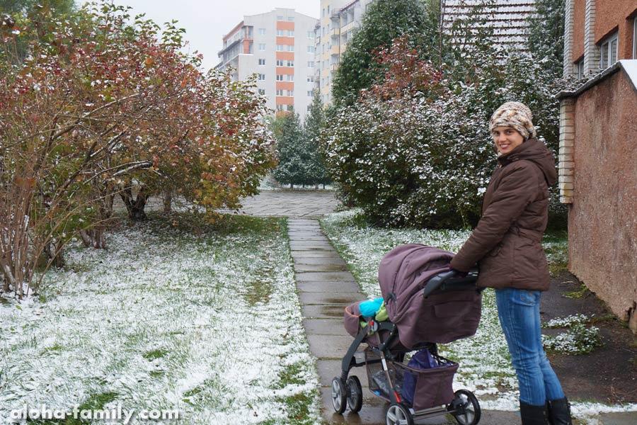 Трускавец, 24 октября 2014 - неожиданно выпал первый снег, и сразу началось бабье лето!