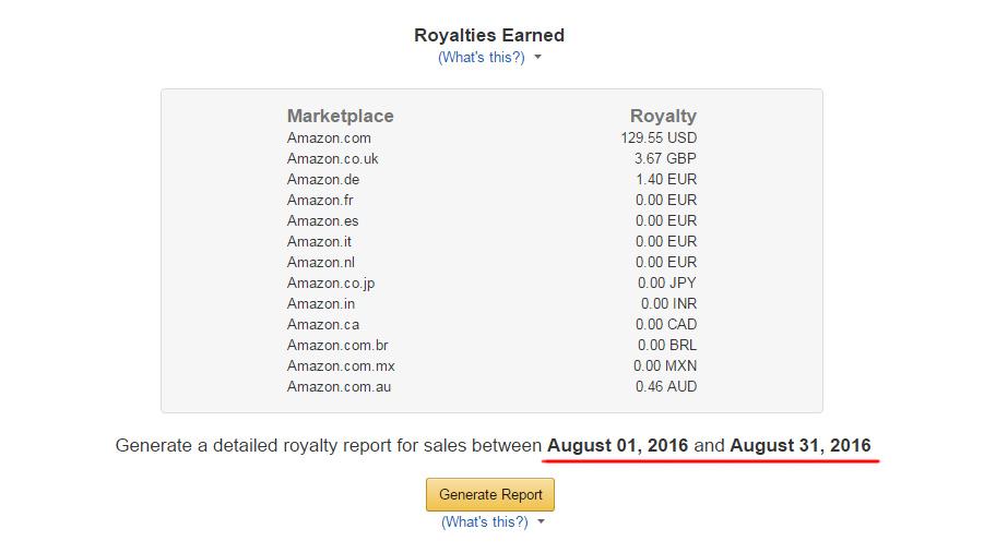 Статистика по моим электронным книгам в Amazon KDP за август 2016