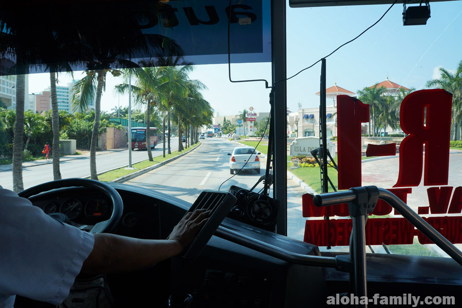 Автобус R1 в Канкуне из центра в Зону Отельера