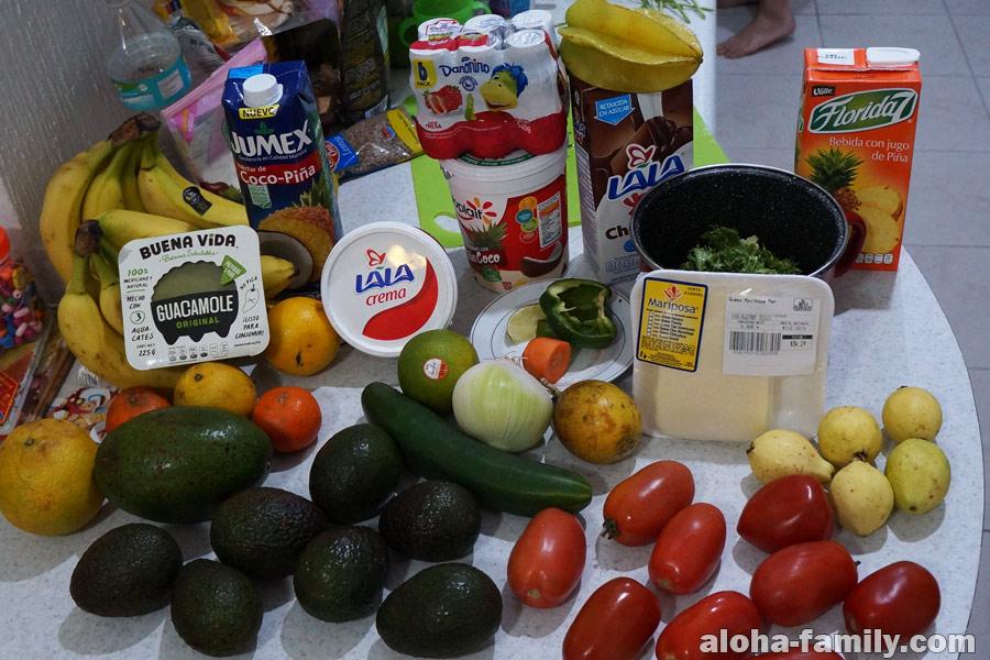Продукты из супермаркета в Мексике
